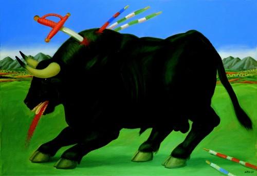 죽어가는 소(Dying Bull) / 1985년 캔버스에 유채 / 110*160cm